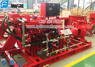 China Red Color End Suction Diesel Powered Fire Pump Set Pressures To 225 PSI supplier