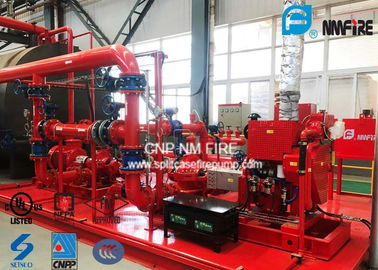 China Red Skid Mounted Fire Pump 3000GPM With Split Case Firefighting Pump Sets factory